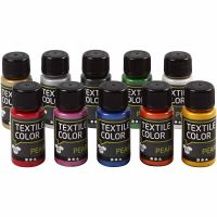 Textile Color, perlemor, ass. farver, 10x50 ml/ 1 pk.