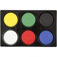 Vandfarve, H: 16 mm, diam. 44 mm, primærfarver, 1 sæt