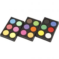 Vandfarve, H: 16 mm, diam. 44 mm, neonfarver, suppleringsfarver, 1 sæt