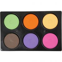 Vandfarve, H: 19 mm, diam. 57 mm, suppleringsfarver, 1 sæt