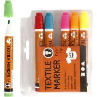 Tekstiltusch, streg 2-4 mm, neonfarver, 6 stk./ 1 pk.