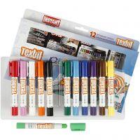 Playcolor Tekstilfarver, L: 14 cm, ass. farver, 12 stk./ 1 pk., 5 g