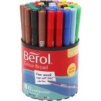 Berol Colourfine tusch, diam. 10 mm, streg 0,3-0,7 mm, ass. farver, 42 stk./ 1 ds.