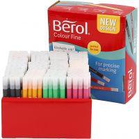 Berol Colourfine tusch, streg 0,3-0,7 mm, ass. farver, 288 stk./ 1 pk.