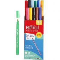Berol Colourbroad tusch, diam. 10 mm, streg 1-1,7 mm, ass. farver, 12 stk./ 1 pk.