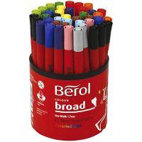 Berol Colourbroad tusch, diam. 10 mm, streg 1-1,7 mm, ass. farver, 42 stk./ 1 ds.