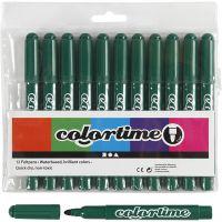 Colortime Tusch, streg 5 mm, mørk grøn, 12 stk./ 1 pk.