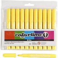 Colortime Tusch, streg 5 mm, citrongul, 12 stk./ 1 pk.