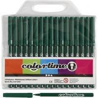 Colortime Tusch, streg 2 mm, mørk grøn, 18 stk./ 1 pk.