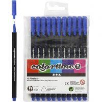Colortime Fineliner Tusch, streg 0,6-0,7 mm, mørk blå, 12 stk./ 1 pk.