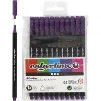 Colortime Fineliner Tusch, streg 0,6-0,7 mm, lilla, 12 stk./ 1 pk.