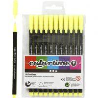 Colortime Fineliner Tusch, streg 0,6-0,7 mm, gul, 12 stk./ 1 pk.