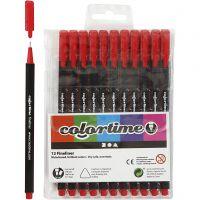 Colortime Fineliner Tusch, streg 0,6-0,7 mm, rød, 12 stk./ 1 pk.