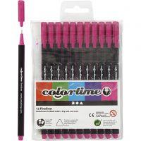 Colortime Fineliner Tusch, streg 0,6-0,7 mm, cyklame, 12 stk./ 1 pk.