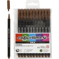 Colortime Fineliner Tusch, streg 0,6-0,7 mm, brun, 12 stk./ 1 pk.