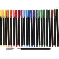 Colortime Fineliner Tusch, streg 0,6-0,7 mm, ass. farver, 24 stk./ 1 pk.