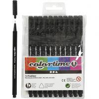 Colortime Fineliner Tusch, streg 0,6-0,7 mm, sort, 12 stk./ 1 pk.