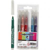 Colortime glittertusch, streg 2 mm, ass. farver, 6 stk./ 1 pk.