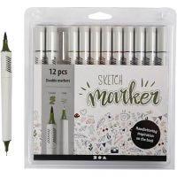 Sketch Marker, streg 1+2-5 mm, douche farver, 12 stk./ 1 pk.