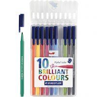 Triplus® color tusch, trekantede, streg 1 mm, ass. farver, 10 stk./ 1 pk.