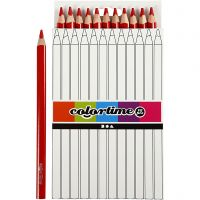Colortime farveblyanter, L: 17,45 cm, mine 5 mm, JUMBO, rød, 12 stk./ 1 pk.