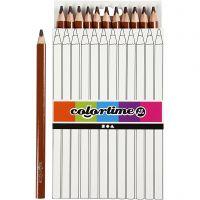 Colortime farveblyanter, L: 17,45 cm, mine 5 mm, JUMBO, brun, 12 stk./ 1 pk.