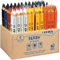 Super Ferby 1 farveblyanter, L: 12 cm, mine 6,25 mm, ass. farver, 96 stk./ 1 pk.