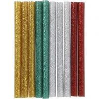 Limstænger, L: 10 cm, glitter, guld, grøn, rød, sølv, 10 stk./ 1 pk.