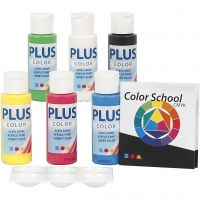 Plus Color hobbymaling, primærfarver, 6x60 ml/ 1 pk.