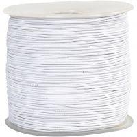 Elastiksnor, tykkelse 1 mm, hvid, 250 m/ 1 rl.