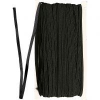 Elastikbånd, B: 6 mm, sort, 50 m/ 1 rl.