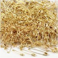 Sikkerhedsnåle, L: 19+22+28 mm, tykkelse 0,5-0,6 mm, guld, 600 stk./ 1 pk.