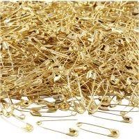 Sikkerhedsnåle, L: 22 mm, tykkelse 0,6 mm, guld, 500 stk./ 1 pk.