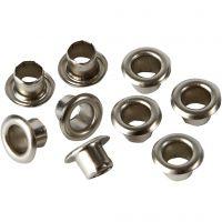 Snøreringe, H: 4,5 mm, diam. 7,5 mm, hulstr. 4 mm, sølv, 100 stk./ 1 pk.