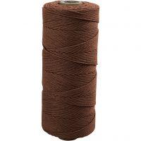 Knyttegarn, L: 315 m, tykkelse 1 mm, Tynd kvalitet 12/12, brun, 220 g/ 1 ngl.