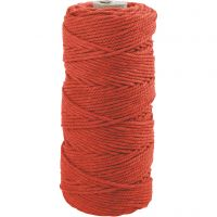 Knyttegarn, L: 100 m, tykkelse 2 mm, Tyk kvalitet 12/36, orange, 225 g/ 1 ngl.