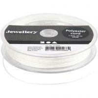 Polyester snor, tykkelse 1 mm, hvid, 50 m/ 1 rl.