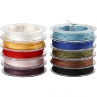 Polyester snor, tykkelse 1 mm, ass. farver, 10x50 m/ 1 pk.