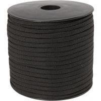 Imiteret faldskærmsline, B: 5 mm, sort, 50 m/ 1 rl.
