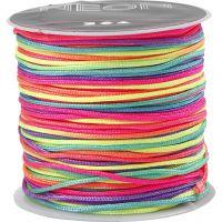 Multicolor knyttesnor, tykkelse 1 mm, neonfarver, 28 m/ 1 rl.