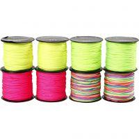 Knyttesnor, tykkelse 1 mm, neon grøn, neon pink, neon gul, neonmix, 8x28 m/ 1 pk.