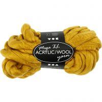 XL kæmpegarn af polyacryl/uld, L: 15 m, str. mega , mørk gul, 300 g/ 1 ngl.