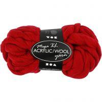 XL kæmpegarn af polyacryl/uld, L: 15 m, str. mega , mørk rød, 300 g/ 1 ngl.