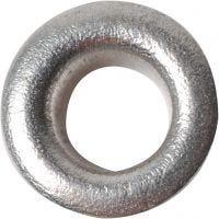 Snøreringe, H: 3 mm, diam. 8 mm, hulstr. 4,8 mm, sølv, 50 stk./ 1 pk.
