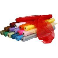 Organza stof, B: 50 cm, ass. farver, 16x6 rl./ 1 pk.