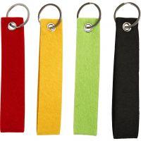 Nøglering, str. 3x15 cm, sort, grøn, rød, gul, 4 stk./ 1 pk.