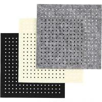 Filt med huller, str. 20x20 cm, tykkelse 3 mm, sort, grå, råhvid, 3x4 ark/ 1 pk.