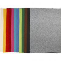 Hobbyfilt, 42x60 cm, tykkelse 3 mm, ass. farver, 12 ass. ark/ 1 pk.