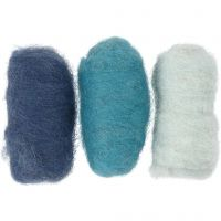 Kartet uld, blå harmoni, 3x10 g/ 1 pk.