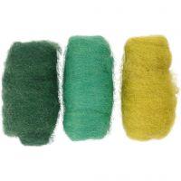 Kartet uld, grøn/turkis harmoni, 3x10 g/ 1 pk.